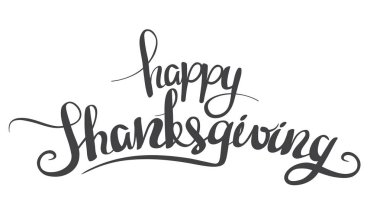 Vector illustration: Black Handwritten lettering Happy Thanksgiving isolated on white background. Calligraphy