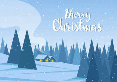 Vector illustration: Winter landscape with two houses in forest and handwritten lettering of Merry Christmas.