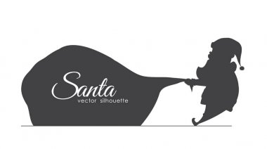 Silhouette of Santa Claus pulls a heavy bag full of gifts. Cartoon scene. Handwritten lettering of Merry Christmas.