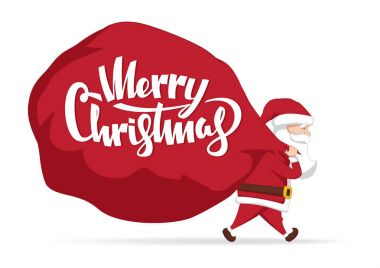 Vector illustration: Santa Claus carries a heavy bag full of gifts. Cartoon scene. Merry Christmas