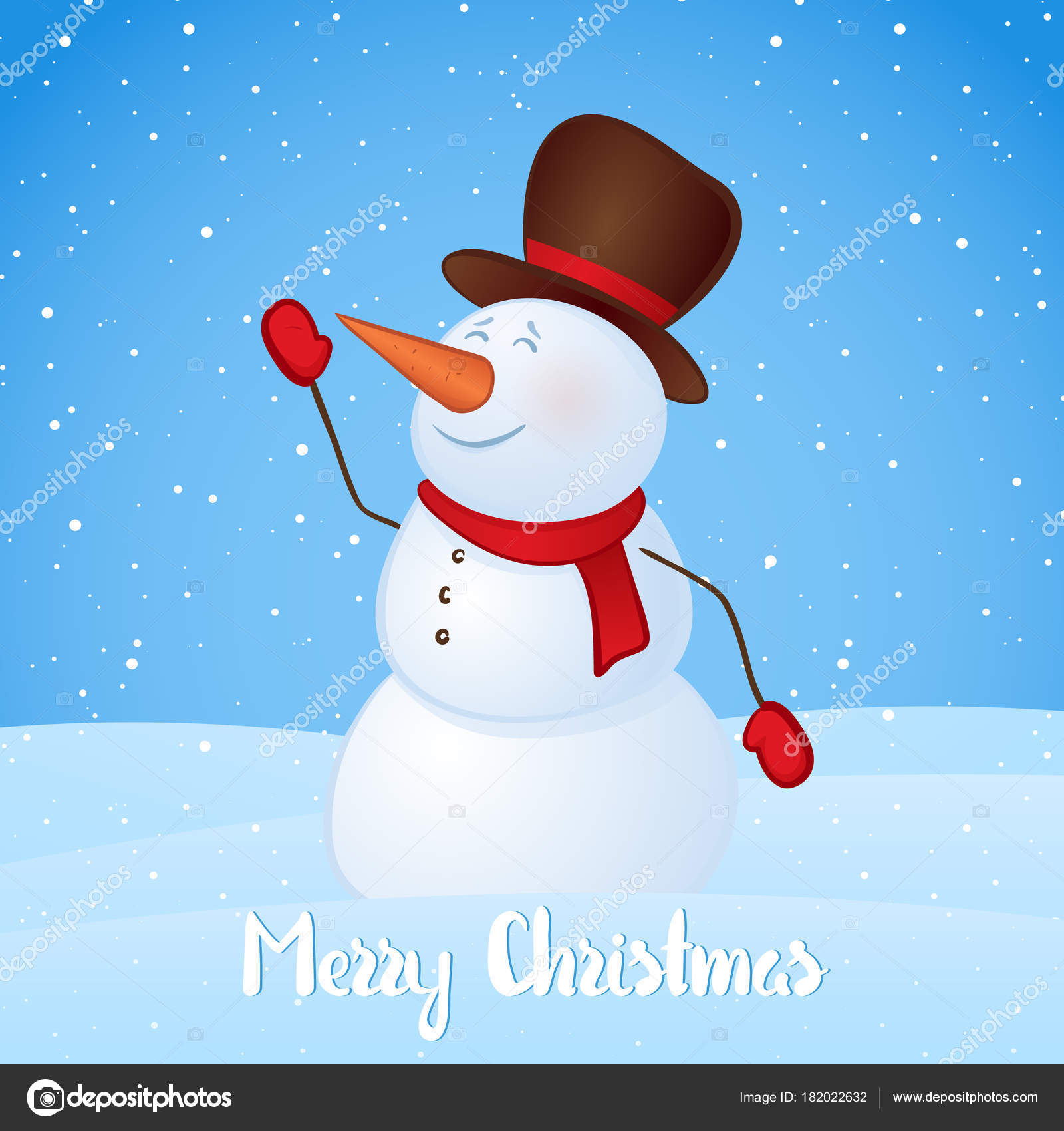 Vector Illustration Winter Greeting Card With Snowman On Snowy