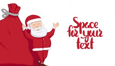 Vector illustration: Santa Claus is leaning on big sack with gifts and shows blank space. Winter Merry Christmas scene.