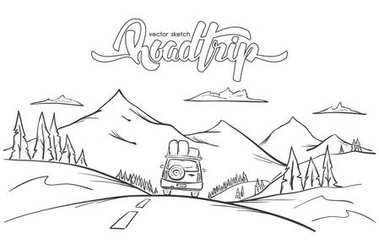 Vector illustration: Hand drawn mountains landscape with rides car and handwritten lettering road trip.