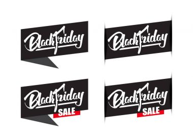 Set of four sale labels with handwritten modern brush lettering of Black Friday isolated on white background.