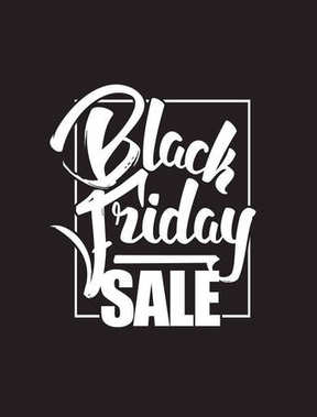 Vector illustration: Hand drawn brush lettering composition of Black Friday Sale isolated on dark background.