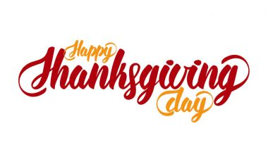 Hand lettering modern brush text of Happy Thanksgiving Day isolated on white background. Handmade calligraphy.