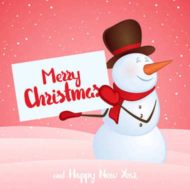 Winter smiling snowman with banner in hands on snowdrift background. Merry Christmas and Happy New Year.