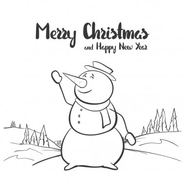 Vector illustration: Winter hand drawn sketch with snowman on landscape background. Merry Christmas and Happy New year