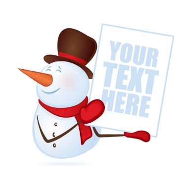 Winter smiling snowman with blank banner or poster in hands on isolated on white background. Merry Christmas