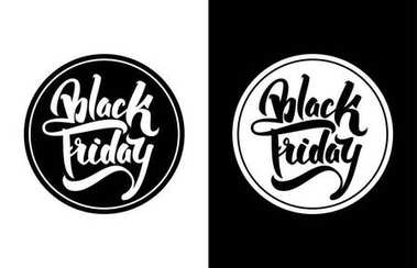 Vector illustration: Sale badge with hand lettering Black Friday. Modern brush calligraphy