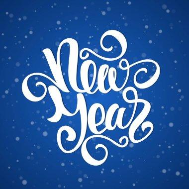 Vector illustration: Happy New Year elegant modern brush lettering on blue snowflake background