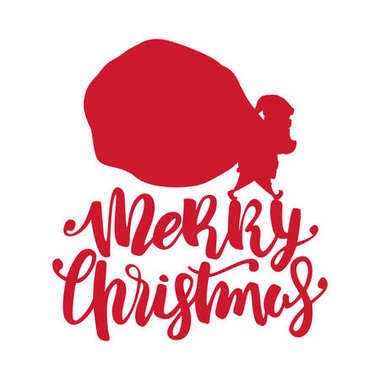 Handwritten lettering of Merry Christmas with silhouette of Santa Claus carries a heavy sack full of gifts