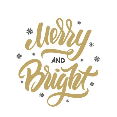 Merry and bright Christmas golden elegant modern brush lettering with snowflakes on white background.