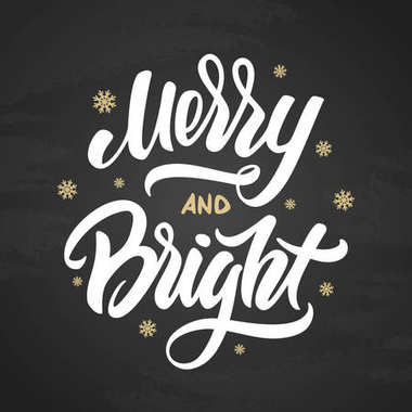 Merry and bright Christmas elegant modern brush lettering with golden snowflakes on chalkboard background.
