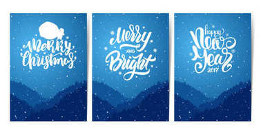 Three blue posters with forest, hills and hand lettering of Happy New Year and Merry Christmas. Snowy landscape.