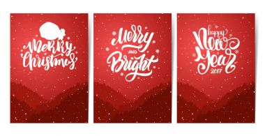 Three red posters with forest, hills and hand lettering of Happy New Year and Merry Christmas. Snowy landscape.