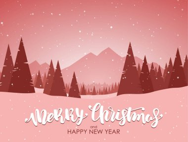 Merry Christmas and Happy New Year. Red winter snowy landscape with hand lettering, pines and mountains.