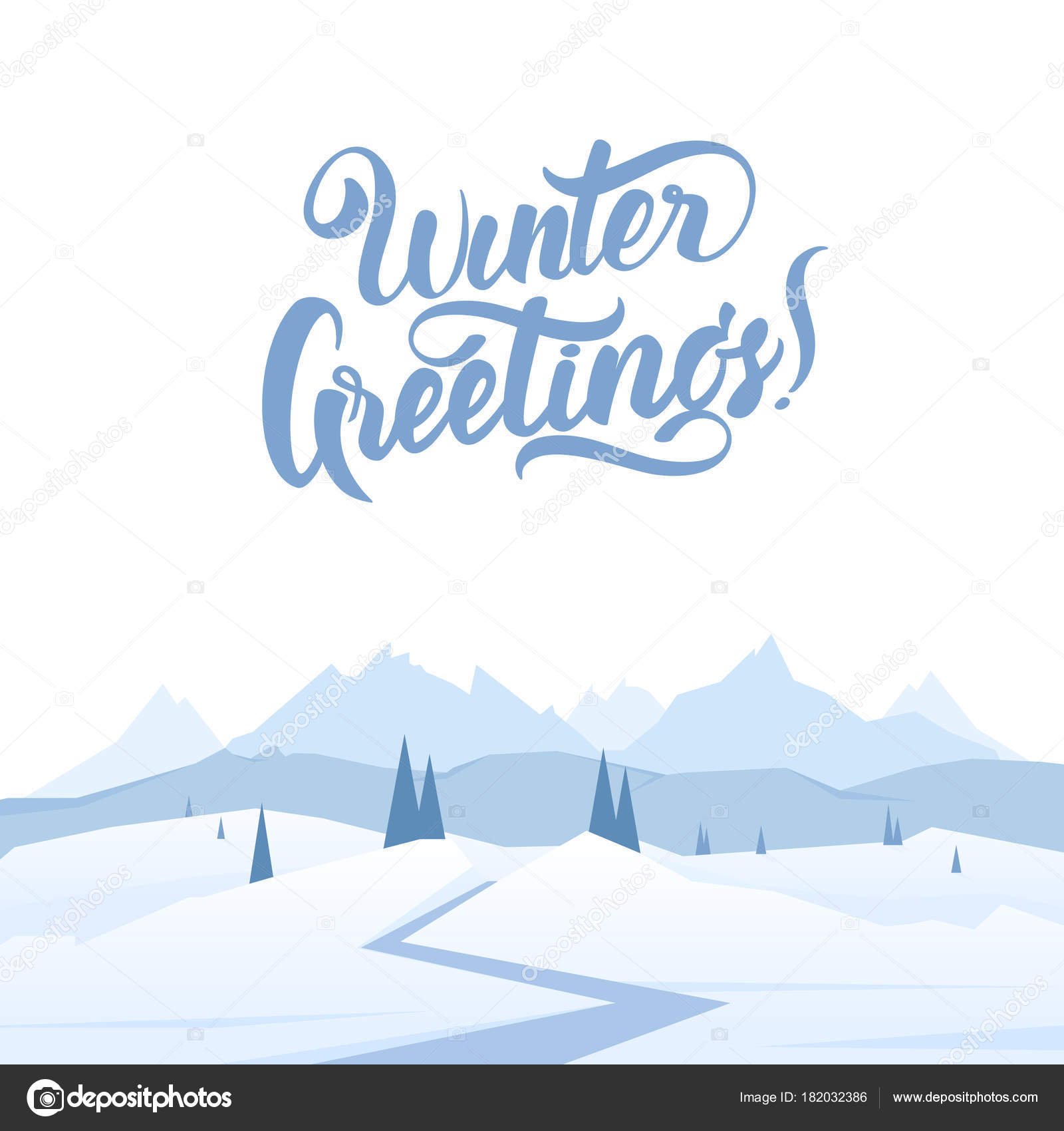 ベクトル イラスト 雪山道松丘のある風景し冬のご挨拶の
