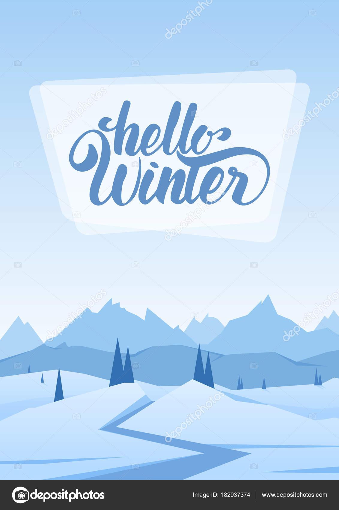 ベクトル イラスト 垂直雪山道松丘のある風景しこんにちは冬の