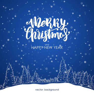Merry Christmas and Happy New Year. Hand drawn pine forest with Modern brush lettering on blue snowflake background.