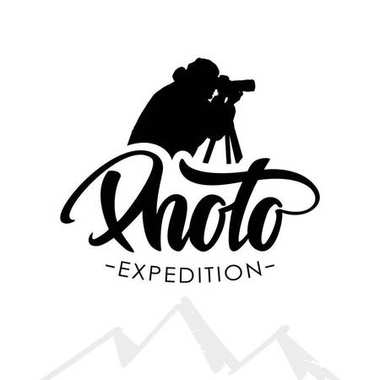Template emblem with handwritten lettering of Photo and silhouette of photographer isolated on white background.