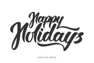 Vector illustration: Hand drawn elegant modern brush lettering of Happy Holidays isolated on white background