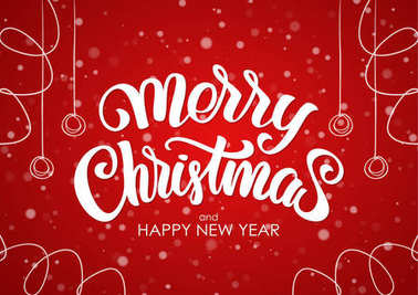 Merry Christmas and Happy New Year. Handwritten lettering with hand drawn decoration on red snowflake background.