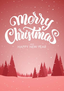 Vector illustration: Red vertical winter snowy landscape with hand lettering of Merry Christmas and Happy New Year