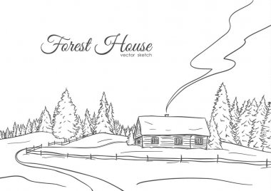 Hand drawn landscape with road to house and pine forest. Sketch line design
