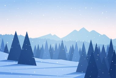 Winter Mountains landscape with pine forest. Christmas background