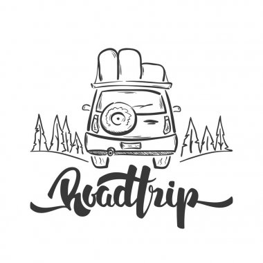 Vector illustration: Hand drawn travel car and handwritten lettering of Road Trip. Sketch line design