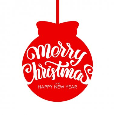 Handwritten modern brush Calligraphic lettering of Marry Christmas and Happy New Year on red Christmas ball background