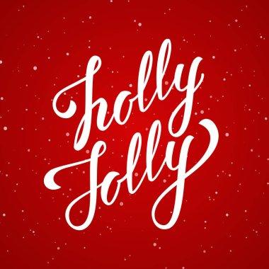 Vector illustration. Handwritten elegant modern brush lettering of Holly Jolly Christmas on red snowflakes background