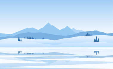 Vector illustration: Mountains winter frozen Lake landscape with pine and reflection
