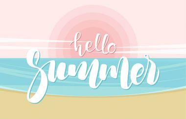 Vector illustration: Handwritten lettering of Hello Summer on ocean beach background