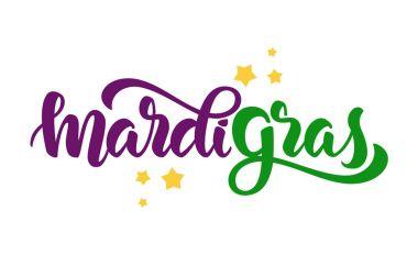 Vector illustration: Handwritten modern brush lettering of Mardi Gras with stars on white background.