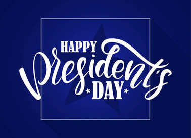 Vector illustration: Calligraphic lettering composition of Happy Presidents Day with stars on blue background