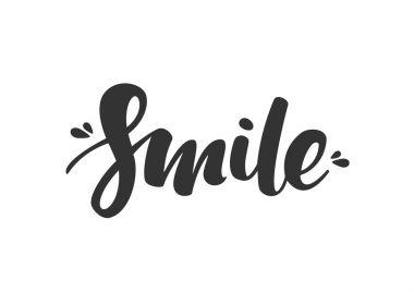 Handwritten modern brush lettering of Smile on white background.