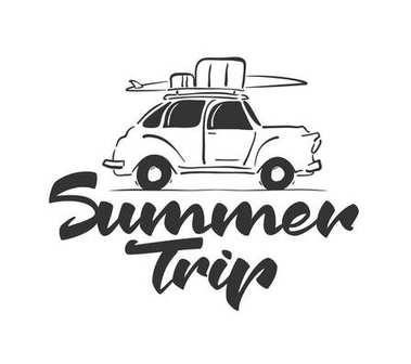 Hand drawn travel retro car with baggage and surfboard on the roof. Handwritten lettering of Summer Trip.