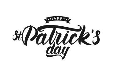 Hand drawn brush lettering of Happy St. Patricks Day on white background. Typography design.