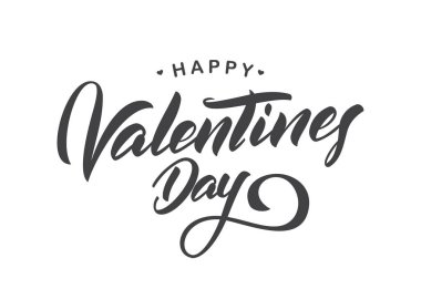 Vector illustration: Greeting calligraphic lettering of Happy Valentines Day. Typography design