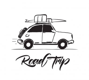 Vector illustration: Hand drawn travel retro car with baggage and surfboard on the roof. lettering of Road Trip.