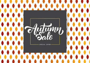 Offer poster with Handwritten lettering composition of Autumn Sale on flat leaves background.