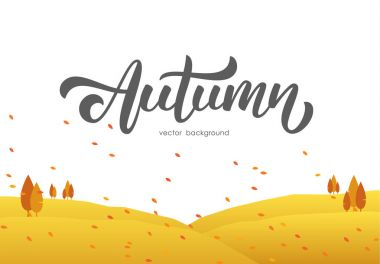 Autumn background with fields and handwritten lettering