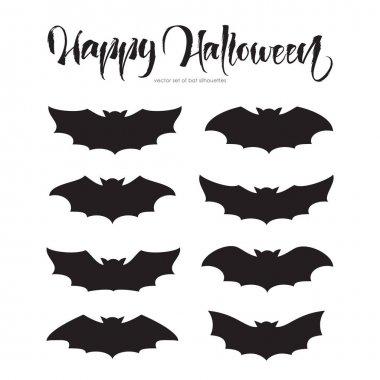 Set of bat silhouettes. Happy Halloween