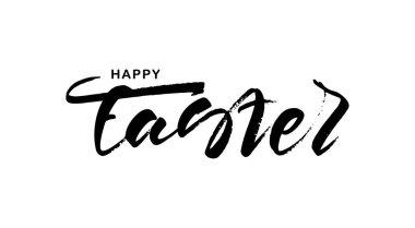 Handwritten grunge modern brush lettering of Happy Easter on white background.