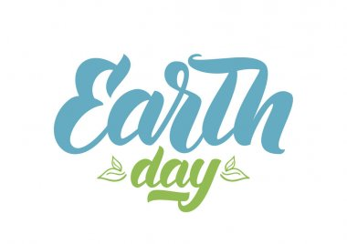 Handwritten brush lettering of Earth Day with Hand drawn leaves on white background.