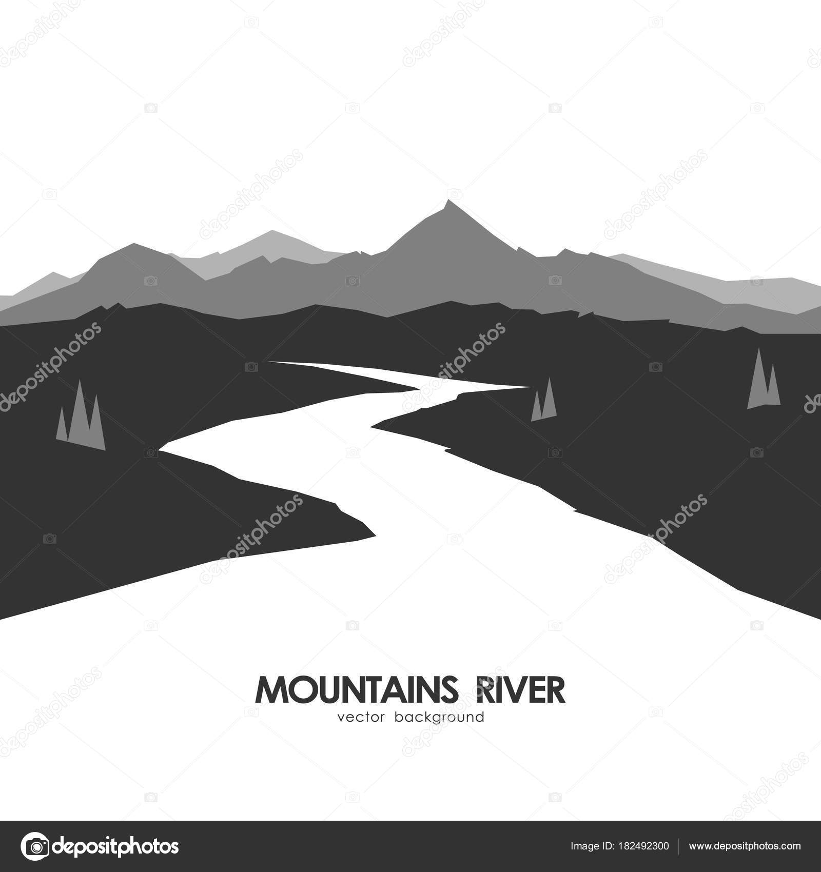 monochrome mountains landscape with white river stock vector c deniskrivoy photo gmail com 182492300 https depositphotos com 182492300 stock illustration monochrome mountains landscape with white html