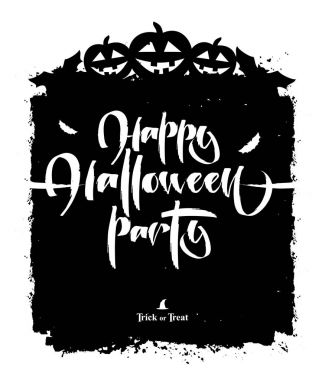 Vector poster template with hand lettering of Happy Halloween Party