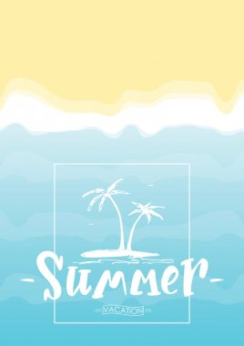 Lettering composition of Summer with tropical island on beach background.
